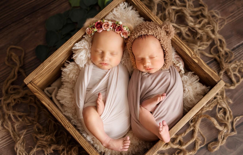 Фото обои коробка, сон, малыши, венок, шапочка, младенцы