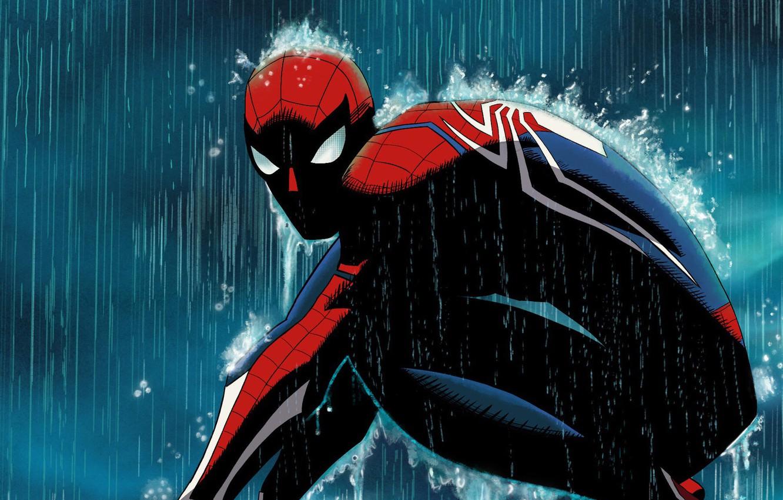 Фото обои Rain, Marvel, Comics, Peter Parker, Spider Man