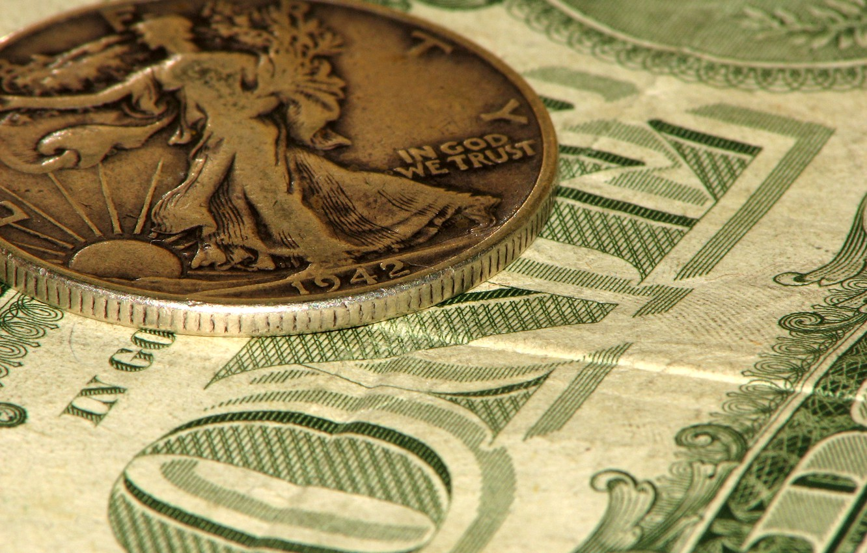 Фото обои деньги, доллары, монета