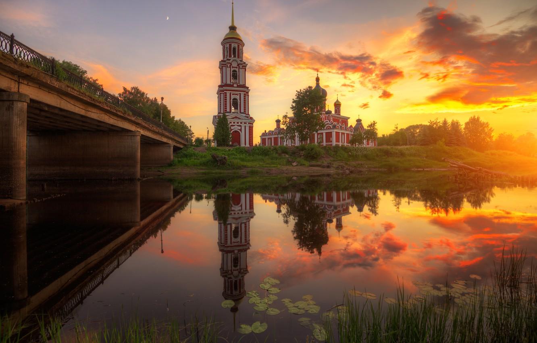 Фото обои закат, мост, природа, отражение, река, церковь, Россия, Ed Gordeev, Эдуард Гордеев, Новгородская область