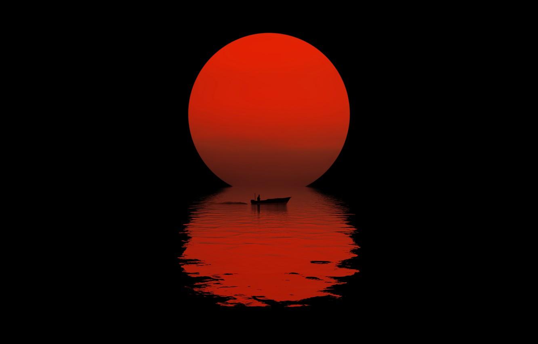 Фото обои солнце, ночь, отражение, лодка, силуэт, черный фон, night, sun, reflection, boat, black background, silhouette, красный …