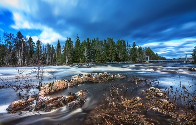 Фото обои river, bridge, rocks, Finland, long exposure, Springtime flood