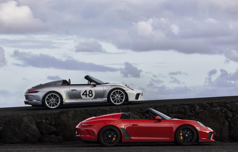 Фото обои красный, 911, Porsche, в профиль, Speedster, 991, 2019, серо-серебристый, 991.2