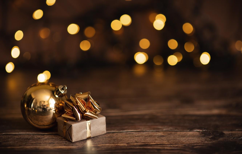 Фото обои праздник, подарок, игрушка, новый год, боке