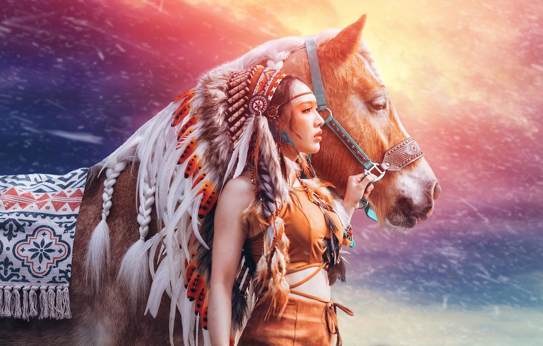 Фото обои девушка, фон, конь