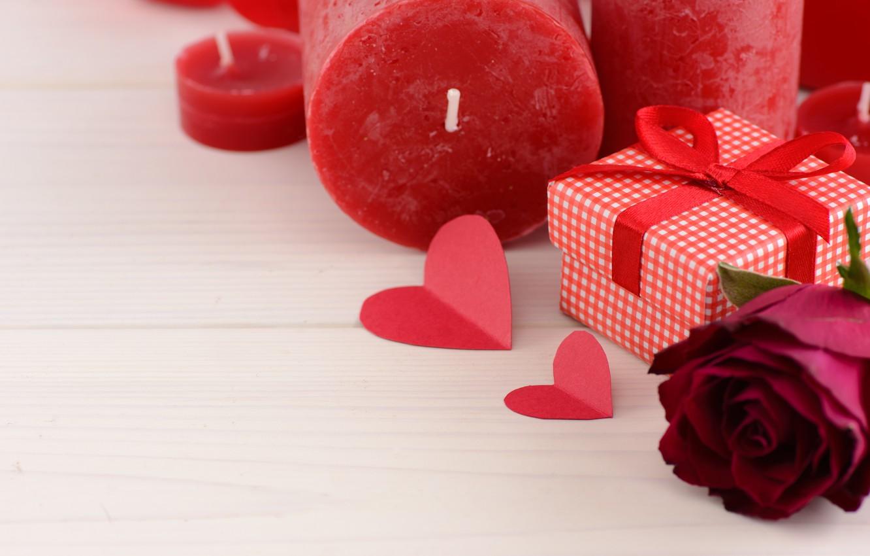 Фото обои любовь, подарок, розы, свечи, красные, red, love, heart, flowers, romantic, valentine's day, roses, gift box
