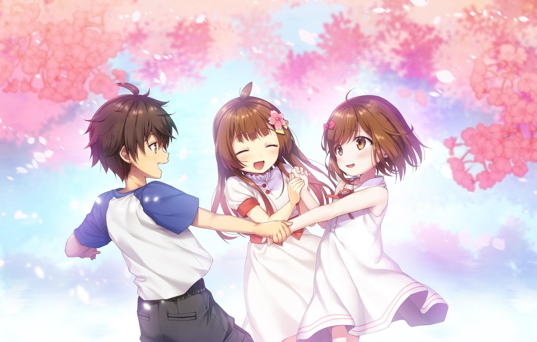 Фото обои дети, улыбка, сакура, games, anime, art, воспоминание, Deep One