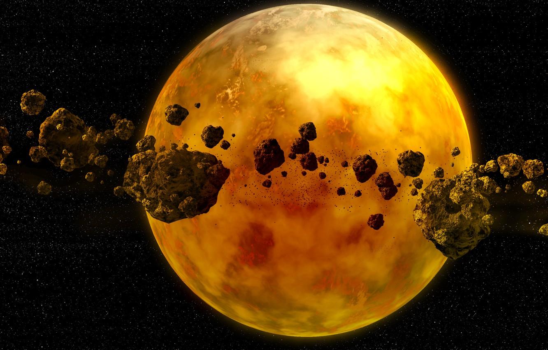 Фото обои космос, планета, звёзды, астероиды