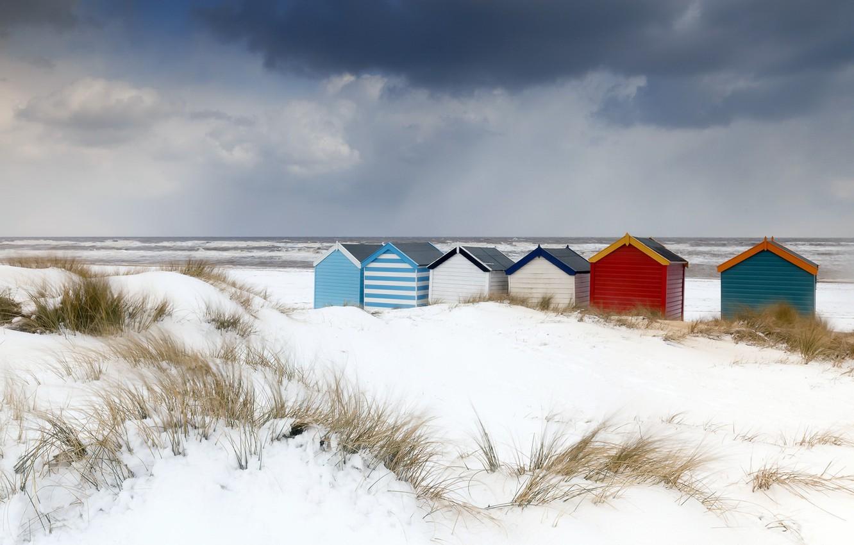 Фото обои море, пляж, природа, берег, дюны, домики