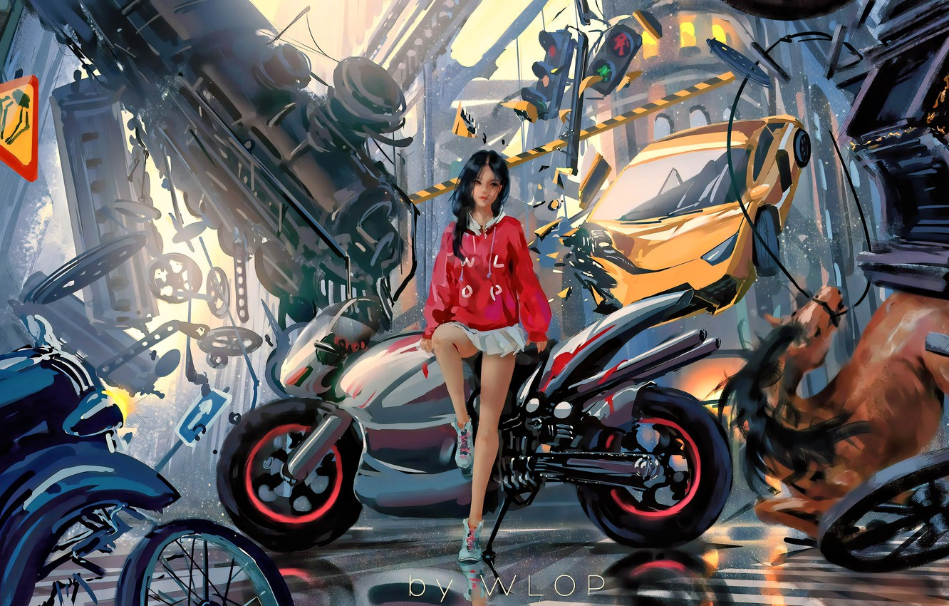 Фото обои car, city, girl, fantasy, game, science fiction, motorcycle, sci-fi, cyberpunk, train, brunette, horse, digital art, …