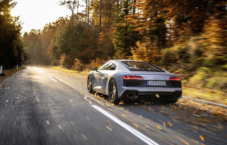 Фото обои Audi, Ауди, спортивное купе, sports car, 2019, Audi R8 V10 RWD Coupe, Florett Silver, серебристая …