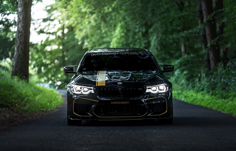 Фото обои BMW, 2018, Biturbo, Manhart, лесная дорога, M5, V8, F90, 4.4 л., 723 л.с., MH5 700