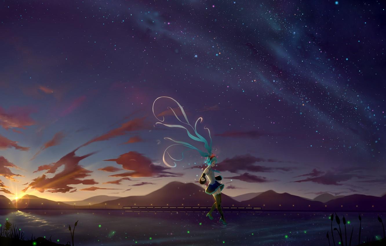 Фото обои девушка, ночь, ветер, Hatsune Miku, Vocaloid, Вокалоид, длинные волосы, Хатсуне Мику