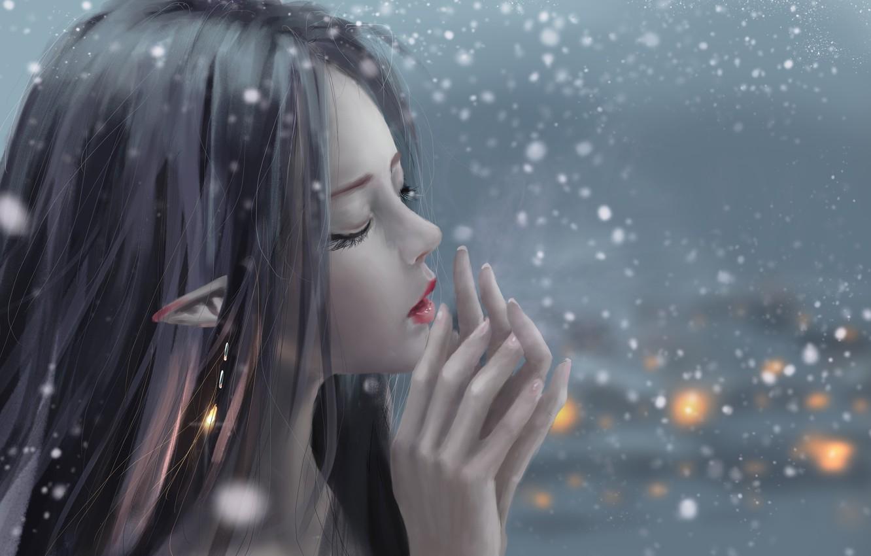 Фото обои girl, fantasy, snow, artist, elf, digital art, artwork, fantasy art, closed eyes, fantasy girl, pointed …