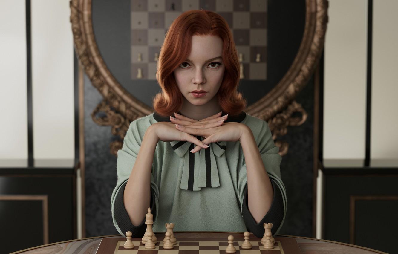 Фото обои redhead, digital painting, Anya Taylor-Joy, 2021, The Queen's Gambit, Beth Harmon, Xie Boli