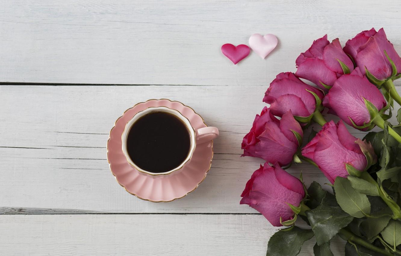Фото обои розы, букет, сердечки, wood, pink, romantic, hearts, coffee cup, valentine's day, roses, чашка кофе