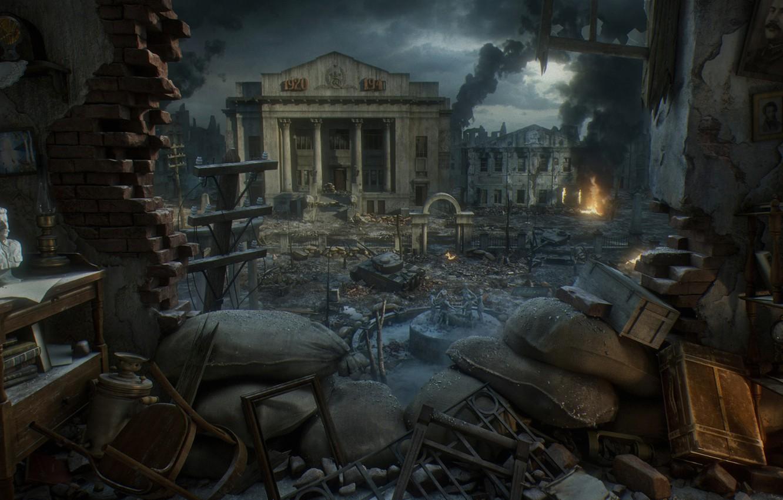 Фото обои город, война, бюст, Сталин, Сталинград, Stalingrad, Yura Gvozdenko