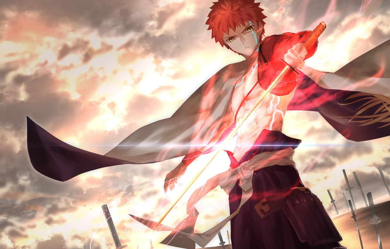 Фото обои закат, парень, Saber, Fate / Grand Order, Судьба великая кампания, Sengo Muramasa