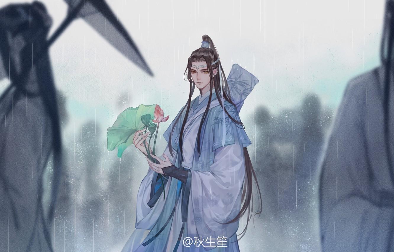 Фото обои люди, зонт, ливень, длинные волосы, листья лотоса, китайская одежда, Mo Dao Zu Shi, Магистр дьявольского …