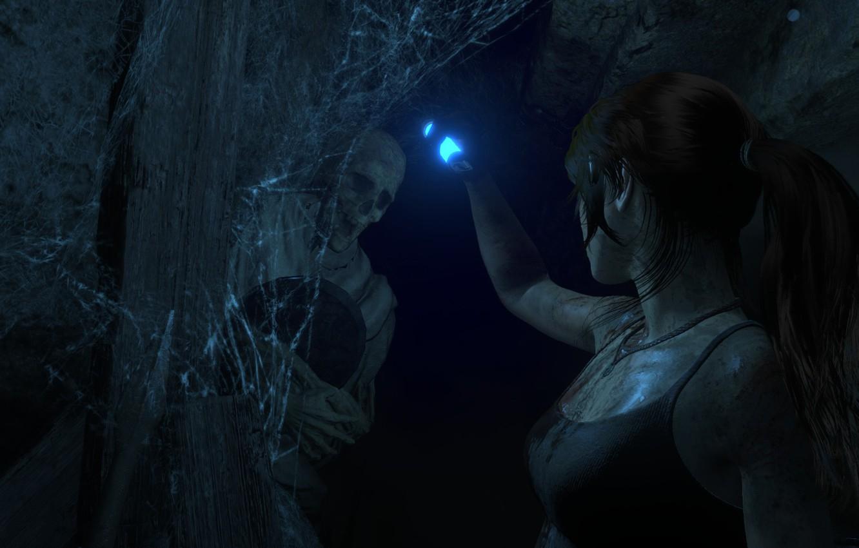 Фото обои Паутина, Пещера, Скелет, Lara Croft, Rise Of The Tomb Raider