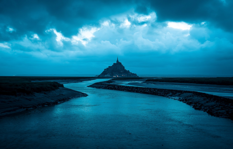 Фото обои море, облака, замок, sea, clouds, blue sky, castle, beautiful landscape, голубое небо, красивый пейзаж