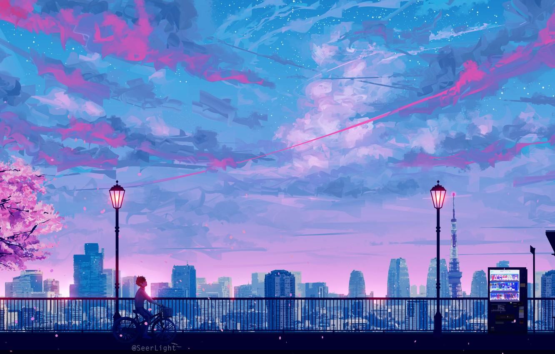 Фото обои небоскребы, Токио, фонари, перила, Tokyo, Japan, парень, набережная, art, розовые облака, токийская башня, вечернее небо, …