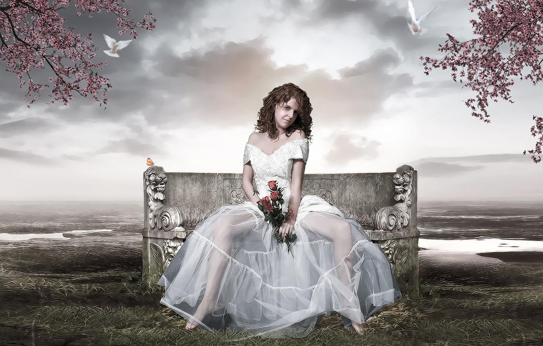 Фото обои девушка, невеста, белое платье