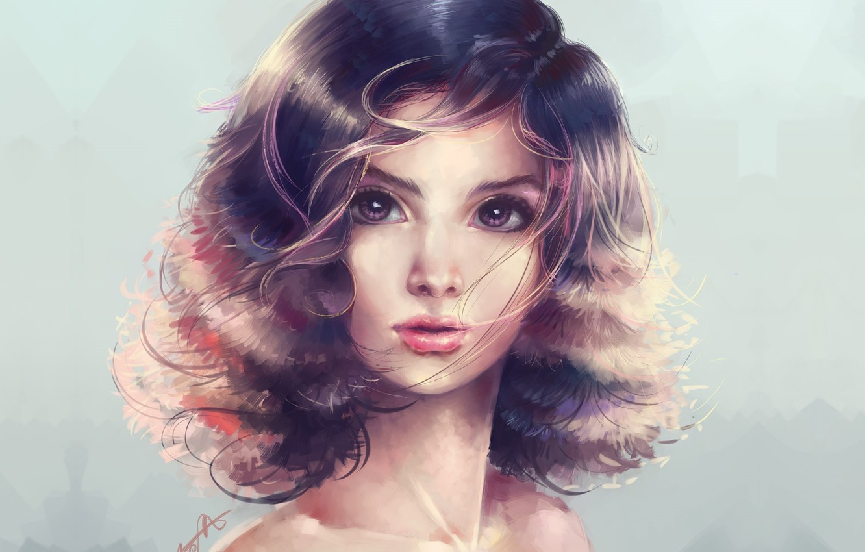 Фото обои лицо, голубой фон, портрет девушки, вьющиеся волосы, шея плечи, by Marfyta