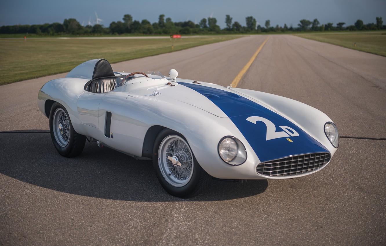 Фото обои Дорога, Спицы, Ferrari, Фары, Classic, Classic car, 1955, Sports car, Ferrari 750 Monza Spyder