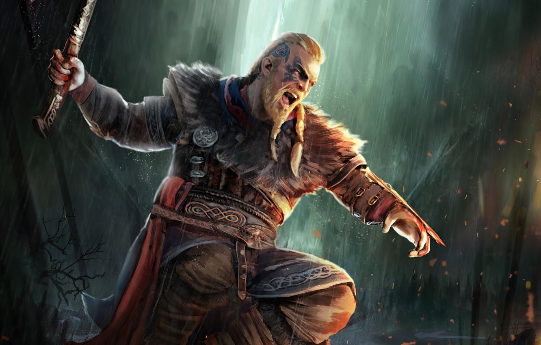 Фото обои игры, axe, арт, топор, воины, крик, games, art, викинг, viking, eivor, valhalla, assassin's creed valhalla, …