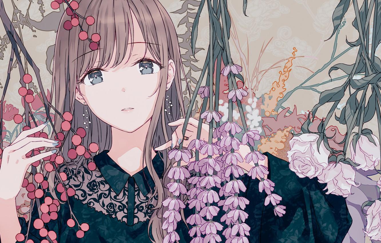 Фото обои цветы, портрет, девочка