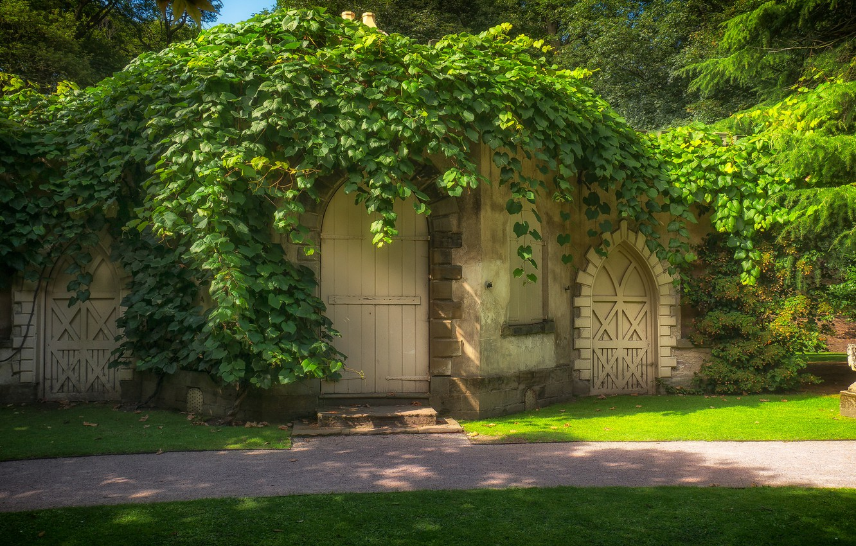 Фото обои зелень, дом, двери, арки, сказочно