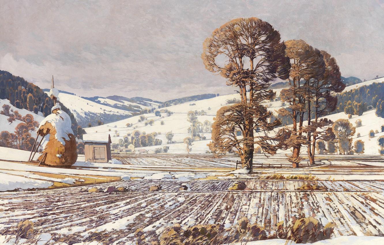 Обои Alois Arnegger, Alois Arnegger, австрийский живописец, Austrian painter, Woodland Landscape in Autumn, Лесной пейзаж осенью, oil on canvas. Разное foto 10
