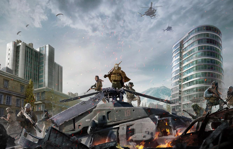 Фото обои Небо, Облака, Горы, Огонь, Здание, Оружие, Call of Duty, Военный, Вертолёт, Activision, Экипировка, Отряд, Warzone, …