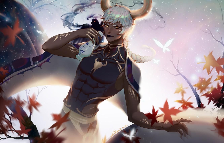 Фото обои осень, листья, аниме, арт, парень, саке, LY 炼 妖, 金牛座