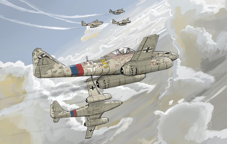 Фото обои небо, облака, рисунок, истребитель, реактивный, Messerschmit, Luftwaffe, Schwalbe, Me-262