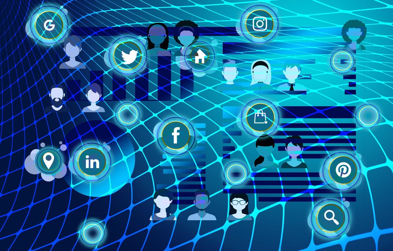 Фото обои связь, логотипы, медиа, социальные сети