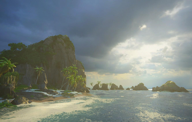 Фото обои море, пальмы, остров, Naughty Dog, Playstation 4, Uncharted 4: A Thief's End