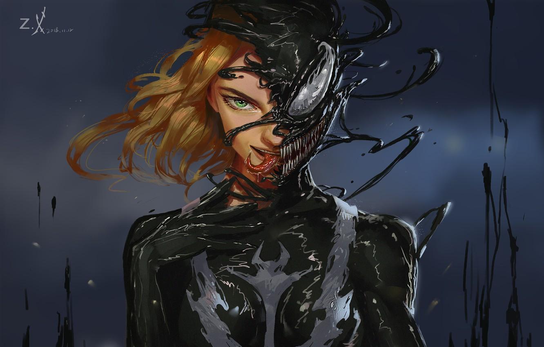 Фото обои Девушка, Язык, Зубы, Art, Comics, MARVEL, Concept Art, Веном, Venom, Symbiote, MARVEL Comics, Comic Art, …