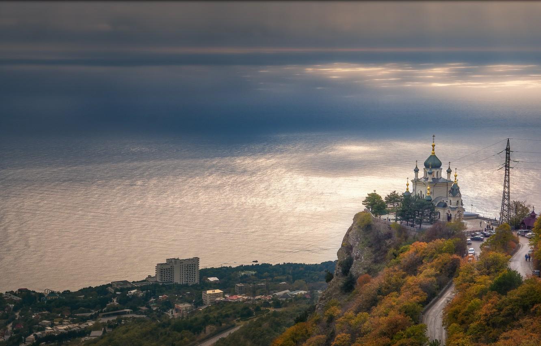 Фото обои море, пейзаж, природа, город, скала, побережье, храм, Крым, купола, утёс, Красная скала, Богорянов Алексей, Алексей …