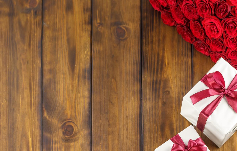 Фото обои цветы, подарок, розы, букет, красные, red, love, flowers, romantic, valentine's day, roses, gift box