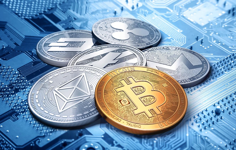 Фото обои dash, bitcoin, ripple, litecoin, monero, ethereum