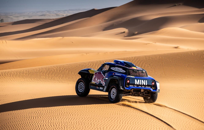 Фото обои Песок, Mini, Пустыня, Машина, Скорость, 300, Rally, Dakar, Дакар, Ралли, Дюна, Buggy, Багги, X-Raid Team, …