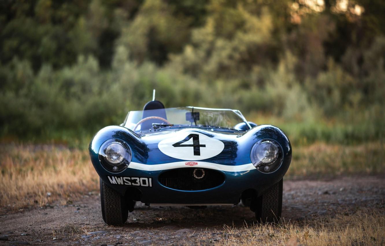 Фото обои Race Car, Вид спереди, Jaguar D-Type