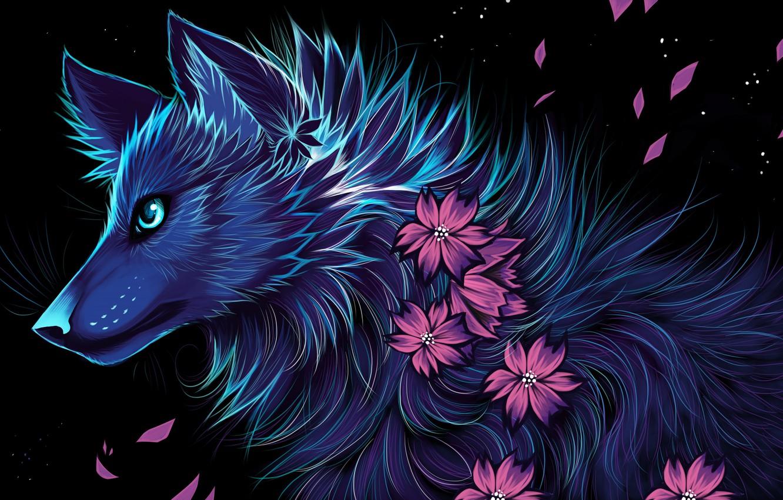 Фото обои цветы, ночь, волк, myarukawolf, by myarukawolf