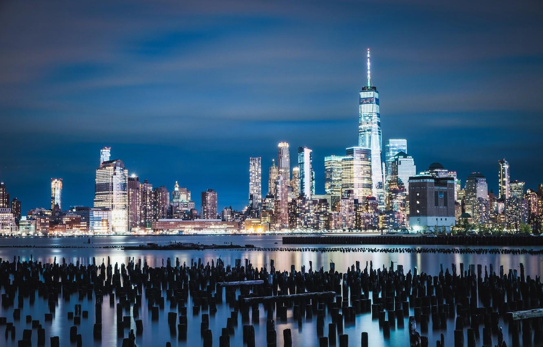 Фото обои здания, залив, ночной город, небоскрёбы, сваи, штат Нью-Джерси, Джерси-Сити, Jersey City, New York Harbor, Нью-Йоркская …