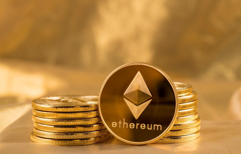 Фото обои лого, gold, fon, coins, эфир, eth, ethereum