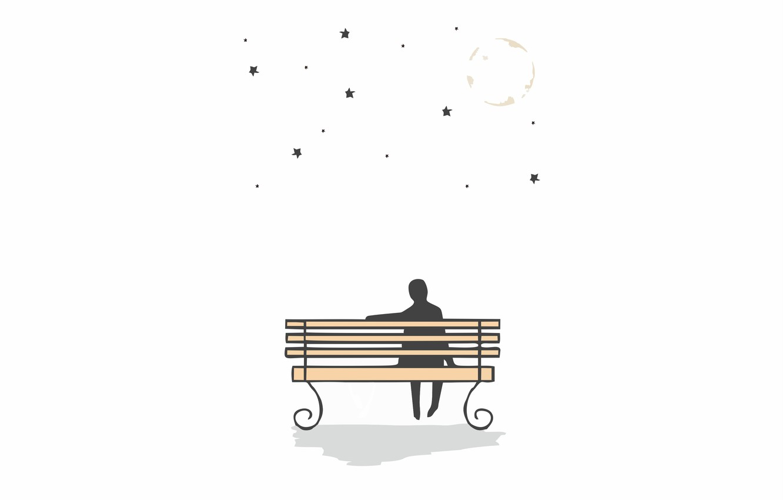 Фото обои луна, moon, stars, сидит на скамейке, смотрит на звезды, смотрит на луну