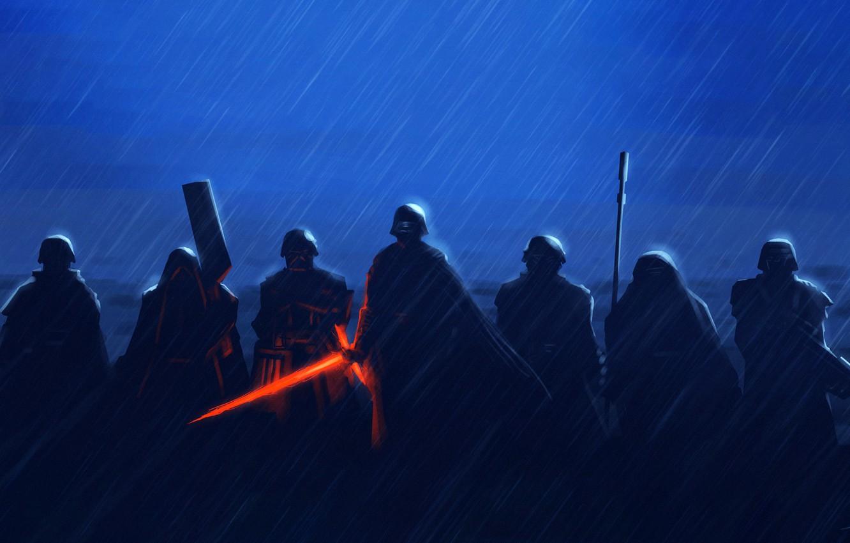 Фото обои Star Wars, Дождь, Меч, Fantasy, Art, Световой Меч, Ситх, Rain, Бойцы, Ливень, Characters, Отряд, Kylo …