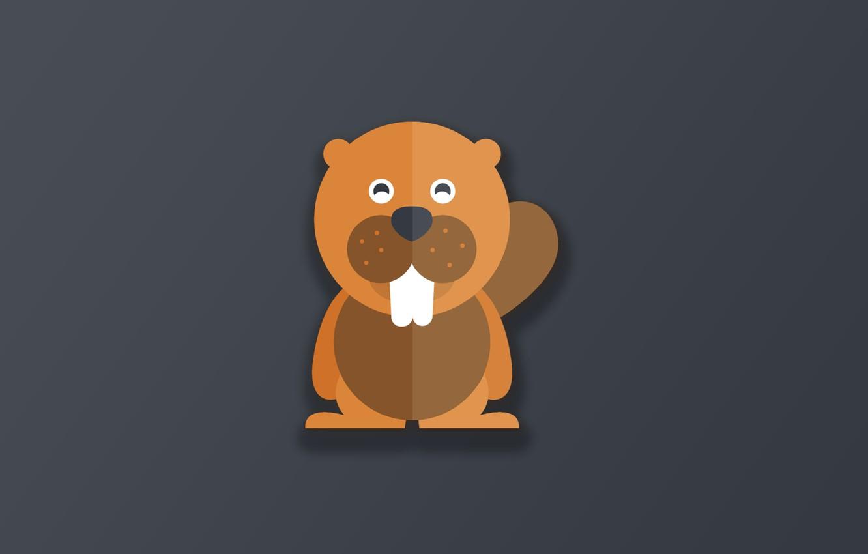 Фото обои minimalism, animal, funny, digital art, artwork, cute, simple background, teeth, Beaver